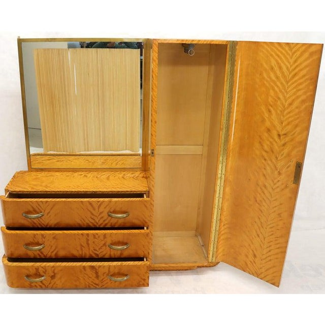 French Art Deco Chifforobe Dresser With Mirror Closet Cabinet Tiger Maple For Sale - Image 11 of 13