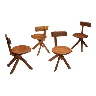 Pierre Chapo 'S34' Dining Chairs in Solid Elm, 1960s For Sale