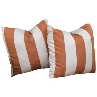 Orange and White Striped Pillows - A Pair For Sale