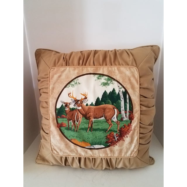 Tufted Deer Accent Pillows - A Pair For Sale - Image 4 of 5
