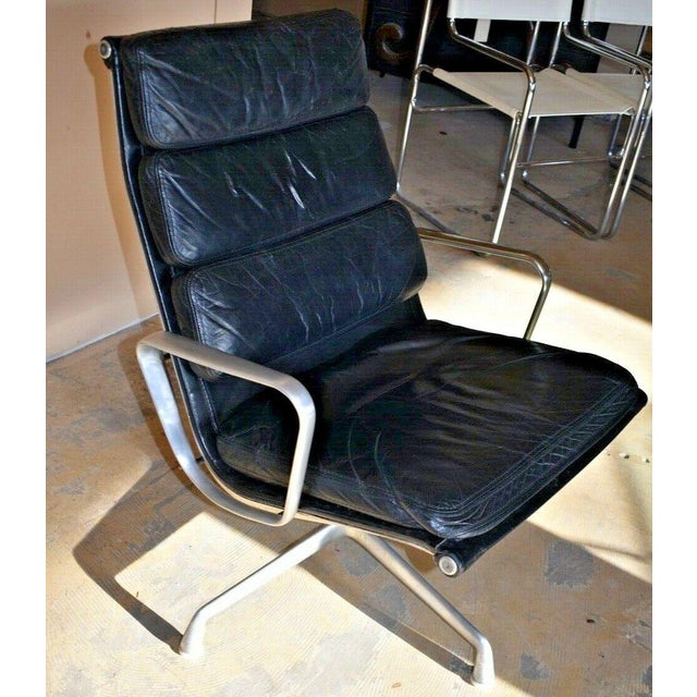 Herman Miller Mid Century Eames Herman Miller Lounge Chairs Black Leather- A Pair For Sale - Image 4 of 13