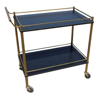 Maxwell Phillip Brass Bar Cart With Black Shelves For Sale