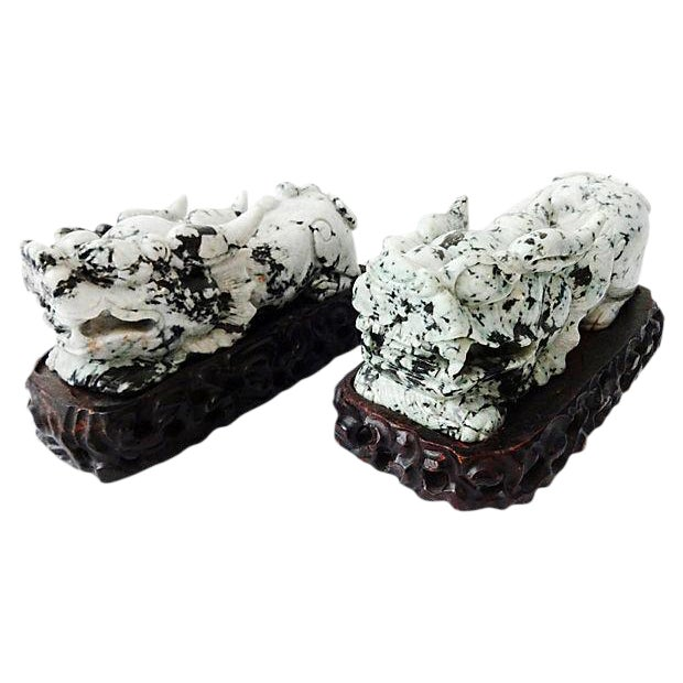 Vintage Spinach Jade Foo Dogs With Stand - A Pair - Image 1 of 7