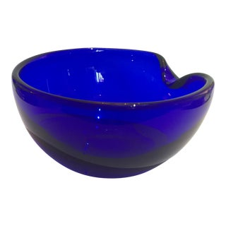 "Elsa Peretti for Tiffany 1980s Thumbrint Bowl 7"" in Cobalt Blue For Sale"