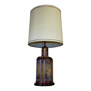 1970s Frederick Cooper Table Lamp & Shade Asian Tea Caddy Style For Sale