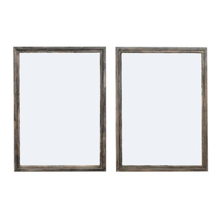 Vintage French Mid Century Painted Wood Mirrors in Nice Grey Hues - a Pair For Sale