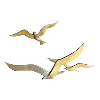 Brass Wall Seagulls Sculpture, Set of 2 For Sale