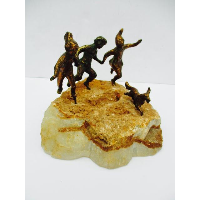 Curtis Jere Children & Dog Bronze Sculpture, 1971 | Chairish