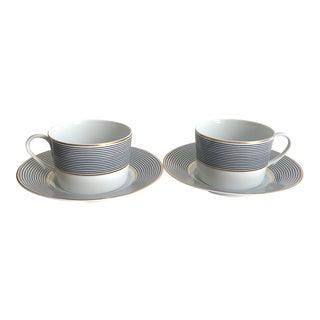 Vintage Limoges Crinoline Black Cups and Saucers - Service for 2 For Sale