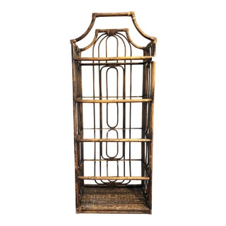 Chinoiserie Boho Chic Pagoda Style Bamboo Etagere Bookcase For Sale
