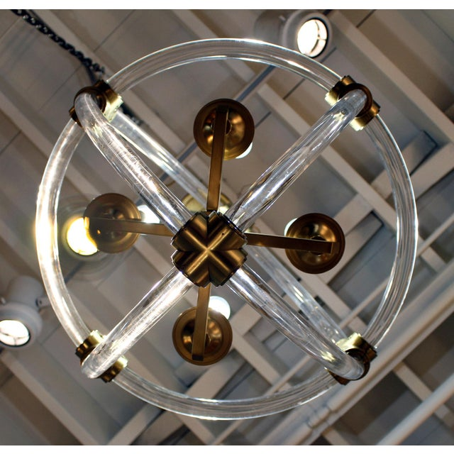 Metal Globe Pedant Light Fixture For Sale - Image 7 of 8