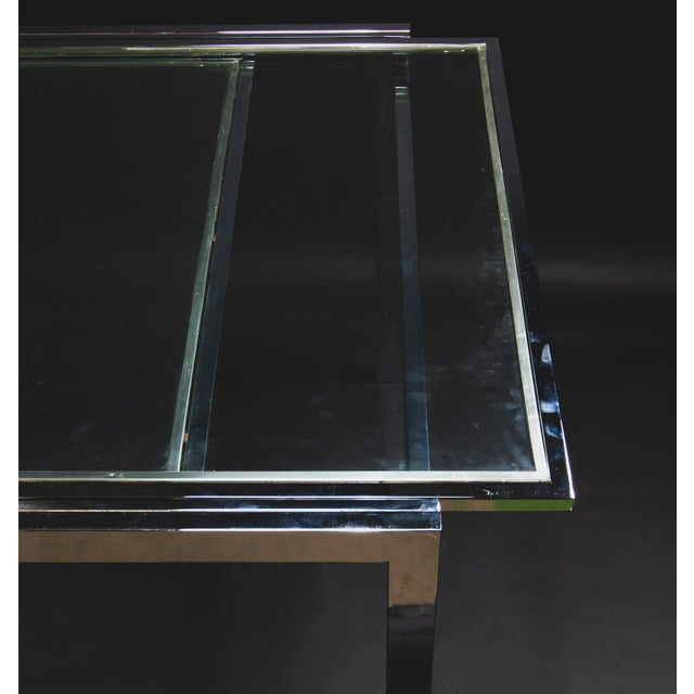 1950s 1950s Modern Milo Baughman Nickel Plated Glass Expansion Table For Sale - Image 5 of 10