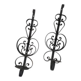 Mid-Century Spanish Revival Heavy Wrought Iron Wall Candle Sconces - a Pair For Sale