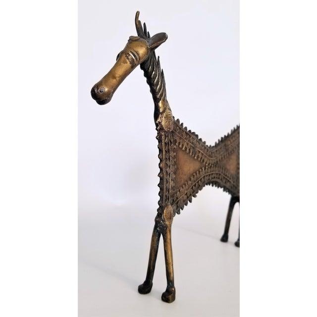 Brass 1960s Vintage Brutalist Solid Brass Horse Sculpture For Sale - Image 7 of 13