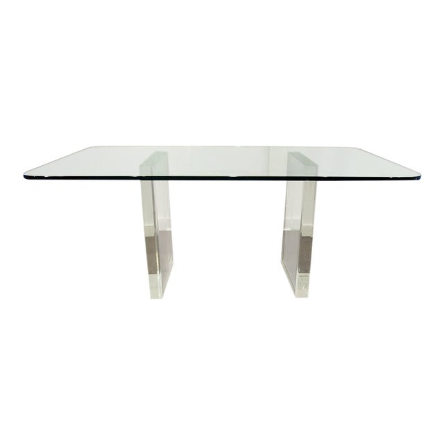 1970's Lucite Executive Desk / Dining Table For Sale