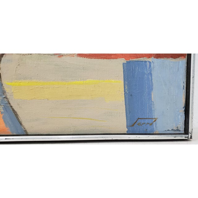 Abstract Mid Century Abstract Still Life Oil Painting by Francisco Ferro C.1960 For Sale - Image 3 of 8