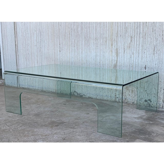 Mid-Century Modern 20th Century Mid-Century Modern Rectangular Curved Glass Coffee Table For Sale - Image 3 of 11