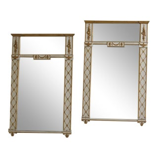 Regency Style Gold & White Decorator Mirror - a Pair For Sale