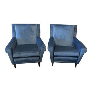 1960s Italian Mid-Century Modern Gio Ponti Style Blue Velvet Italian Armchairs For Sale