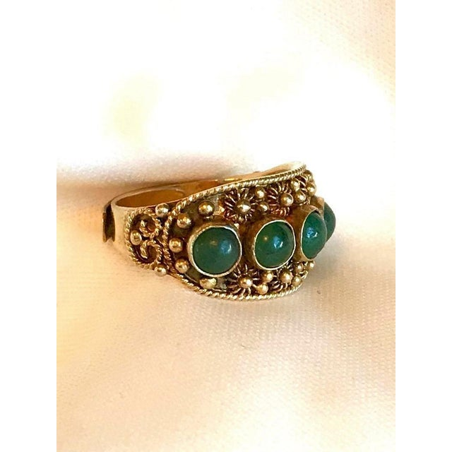 Chinese Gold-Plated Sterling and Jade Ring For Sale - Image 4 of 8