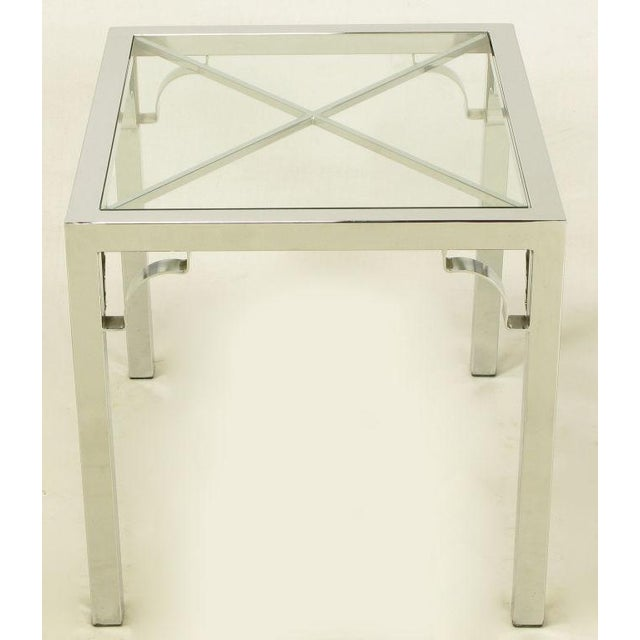 Chrome Parsons Style Chinese Chippendale X-Top End Table - Image 5 of 7