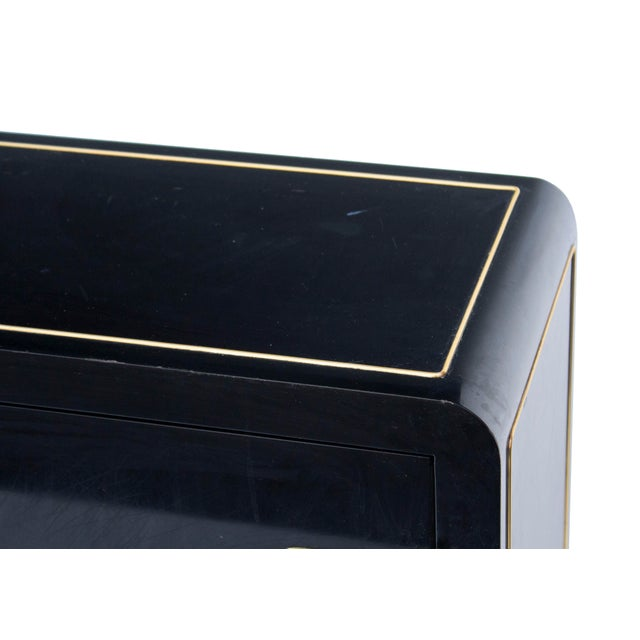 Gold Mastercraft Console Cabinet in Black Lacquer and Brass For Sale - Image 8 of 13