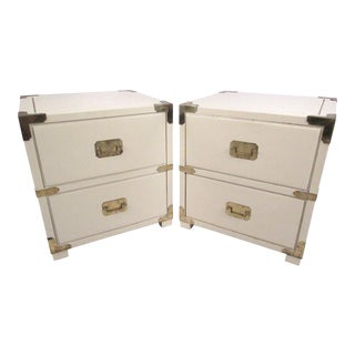 Pair of Campaign Style Two-Drawer Nightstands For Sale
