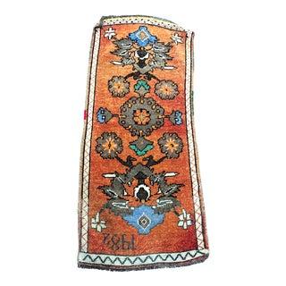 1982 Turkish Handmade Orange Oushak Rug - 1′7″ × 3′7″ For Sale