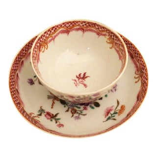 18th Century Antique Chinese Export Cup & Saucer For Sale