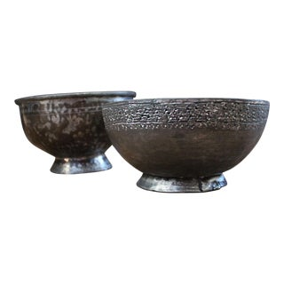 Antique Ottoman-Era Zinc and Tinned Copper Bowls-A Pair For Sale