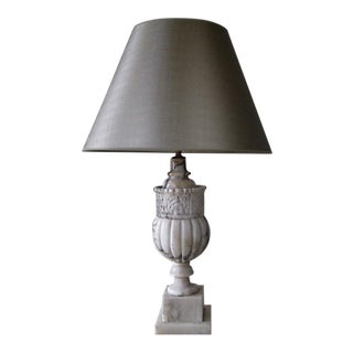 1920s Italian Marble Lamp with Custom Silver Shade For Sale