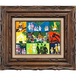 """1971 """"Auteuil, Paris"""" Figurative Abstract Oil Painting by Johannes Schiefer, Framed For Sale"""