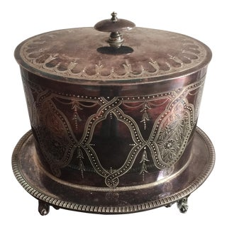 Silverplated Footed Etched Box For Sale