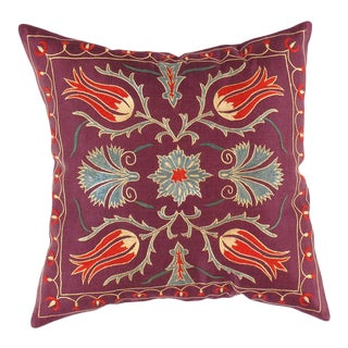 Ts 198 Plum Color Suzani Hand Stitch Pure Silk Turkish Pillow For Sale