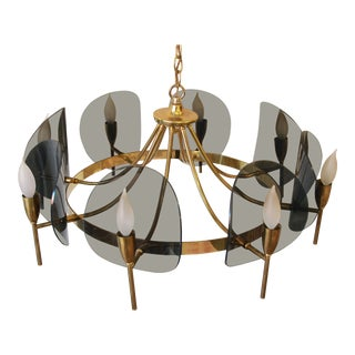 Mid-Century Modern Brass and Smoked Lucite 8 Arm Chandelier For Sale