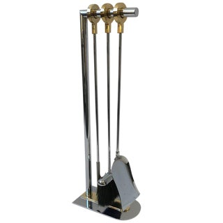 Chrome and Brass Fireplace Tools by Maison Charles For Sale