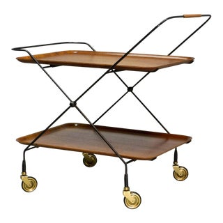 Mid-Century Design Teak and Steel Tea Trolley on Brass wheels by Paul Nagel, Germany 1950s