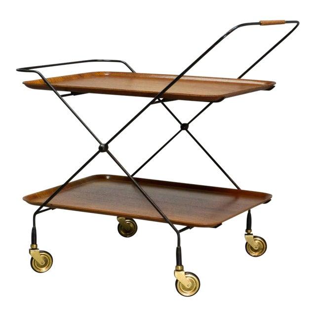 Mid-Century Design Teak and Steel Tea Trolley on Brass wheels by Paul Nagel, Germany 1950s For Sale