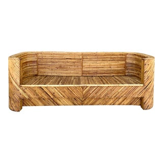 1960's Stacked Bamboo Sofa in the Manor of Gabriella Crespi For Sale