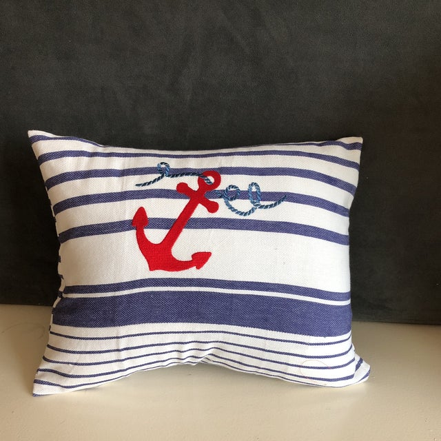Nautical Stripes Pillows - a Pair For Sale - Image 5 of 5