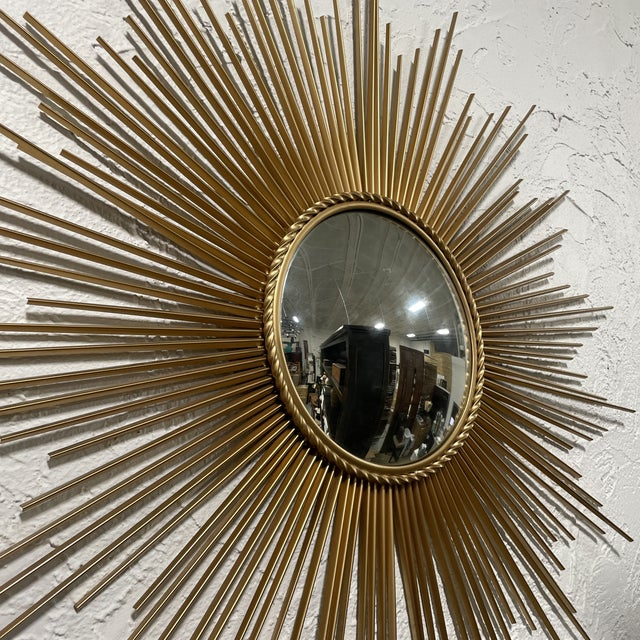 Vintage Chaty Vallauris Style Gilt Metal Sunburst Wall Convex Mirror! This mid-century piece has a beautiful gold finish...