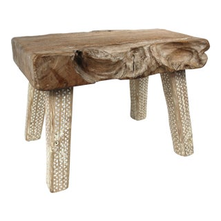 Late 20th Century Primitive Wood Stool For Sale