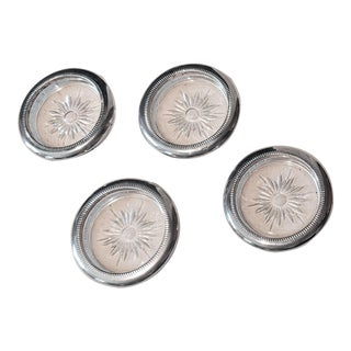 1940s Silver-Plate Coasters - Set of 4 For Sale