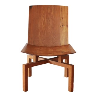 Mid Century Modern Studio Craft Solid Oak Lounge Chair by Berthold Schwaiger For Sale