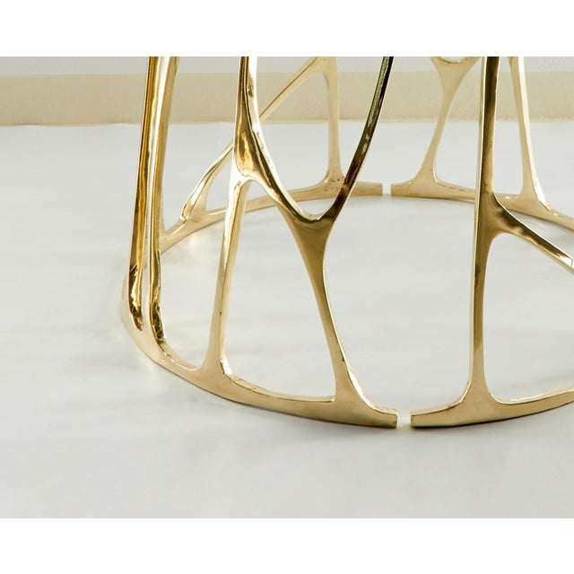 Modern Brass Sculpted Round Table, Golden Roots, Misaya For Sale - Image 3 of 5