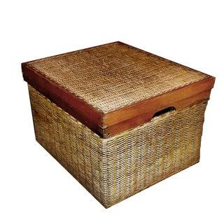 1990s Wood Framed Woven Wicker Rattan Lidded Handled Storage & Filing Box For Sale