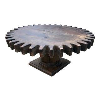 Vintage Coffee Table Cog Wheel Sprocket Rotating For Sale