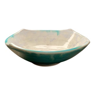 Modern Square Footed Studio Bowl With Turquoise Outside and Fish Scale Cream Inside Glaze For Sale