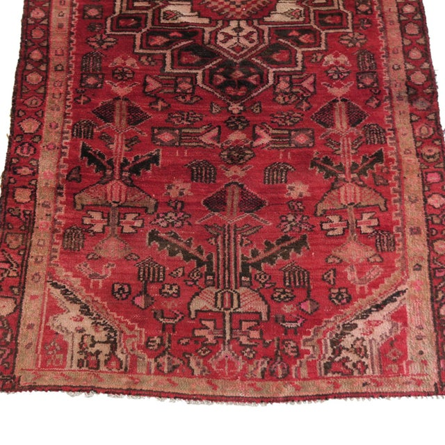 Cottage Antique 4 X 8 Red Pink and Brown Hand Knotted Wool Runner Rug For Sale - Image 3 of 7