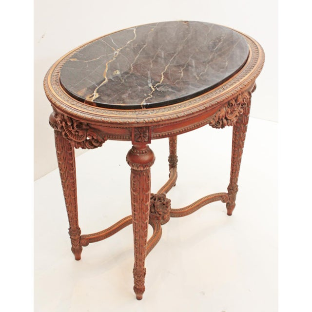 Art Deco Oval Deco Carved Fruitwood Occasional Table For Sale - Image 3 of 7